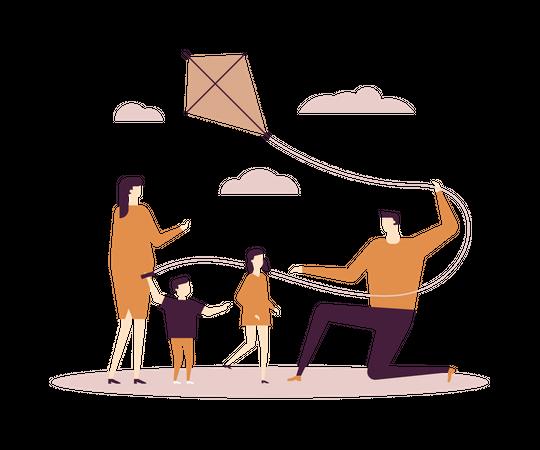 Family celebrating kites festival Illustration