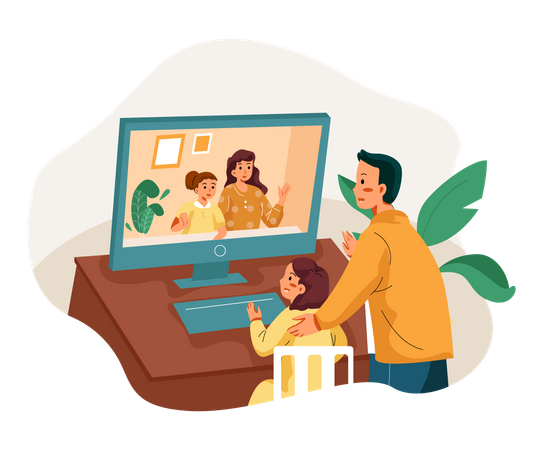 Family chatting on video call Illustration