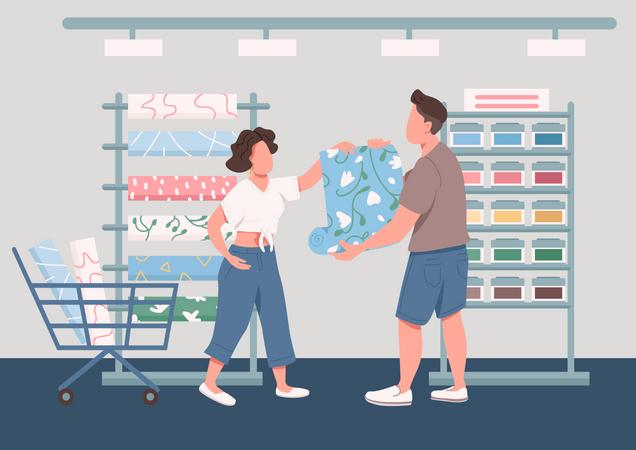 Family choosing new wallpapers Illustration