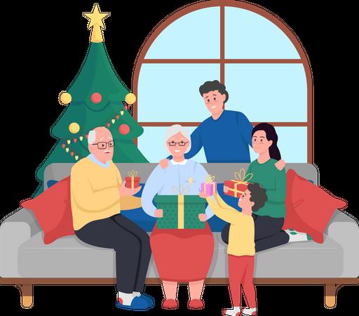 Family Christmas celebration Illustration