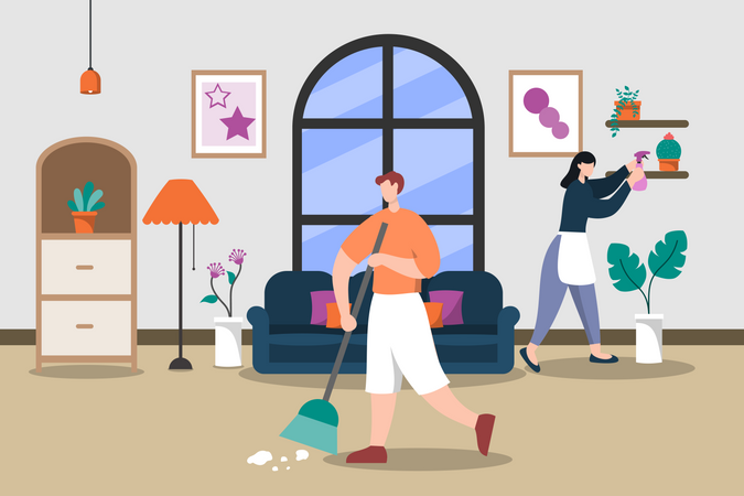 Family cleaning the living room Illustration