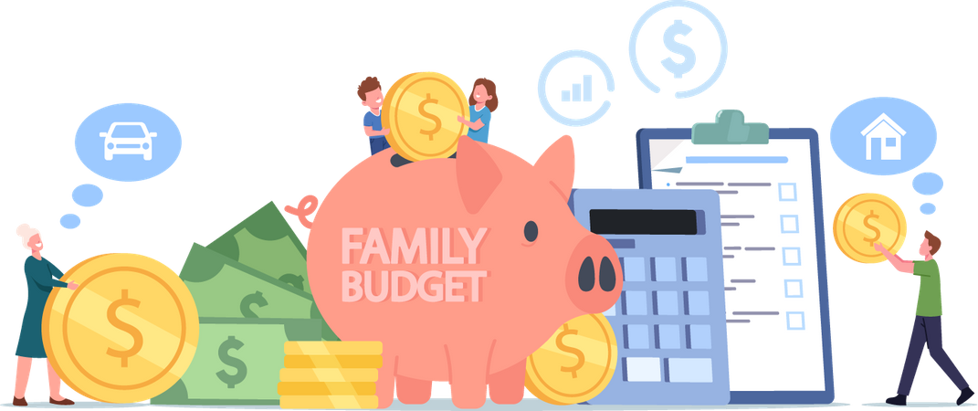 Family Collect Money for Budget Savings and Income Illustration