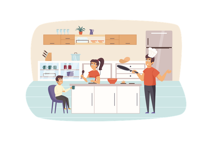 Family cooking breakfast in kitchen together Illustration