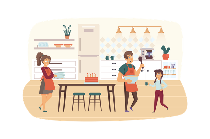 Family cooking breakfast or holiday dinner in kitchen Illustration