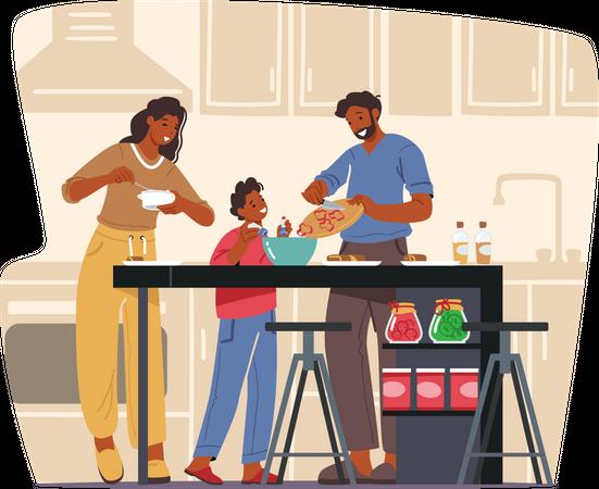 Family cooking food together Illustration
