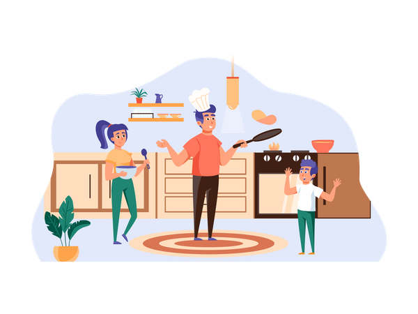 Family cooking meal together Illustration