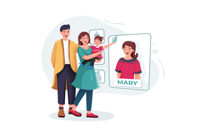 Family couple with baby choosing nanny online Illustration