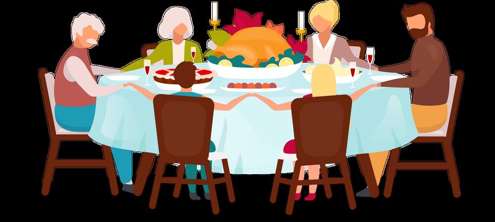 Family dinner with turkey Illustration