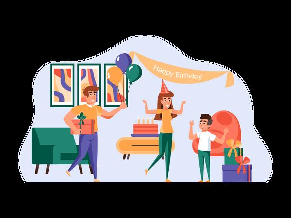 Family doing birthday celebration Illustration