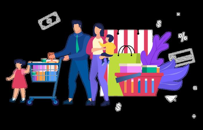 Family Doing Shopping Illustration