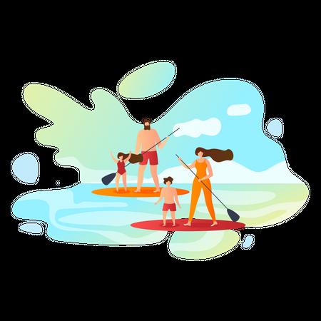 Family doing surfing Illustration