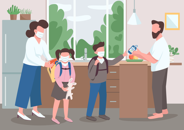 Family during quarantine Illustration