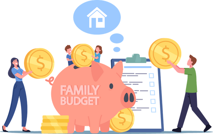 Family Earn and Save Money Illustration