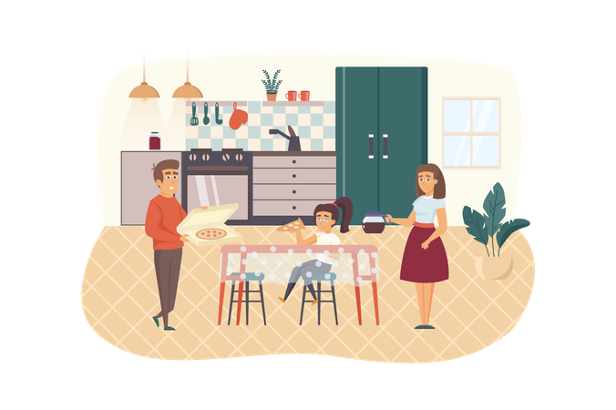 Family eating pizza in kitchen together Illustration