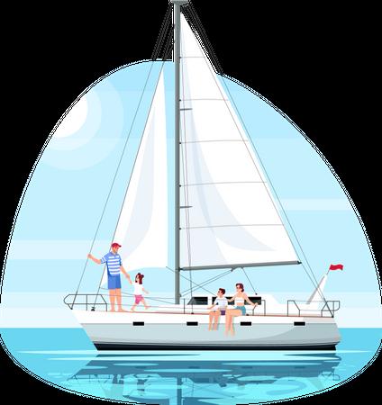 Family enjoy trip on ship Illustration