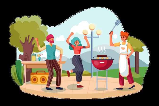 Family enjoying Barbecue Party Illustration