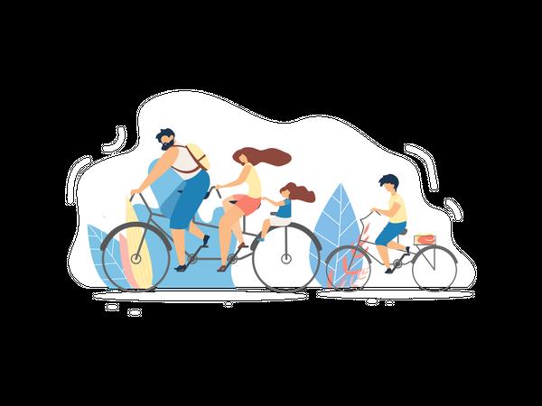 Family enjoying cycling Illustration