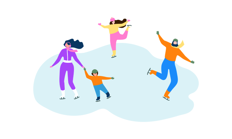 Family enjoying Ice Skating Illustration