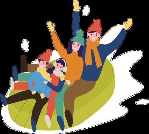 Family enjoying ice sliding Illustration