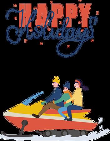 Family enjoying snowmobiling Illustration