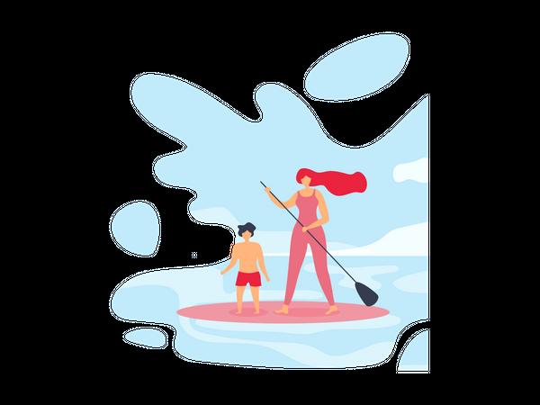 Family enjoying surfing Illustration