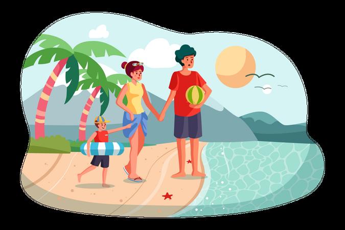 Family enjoying vacation on the beach Illustration