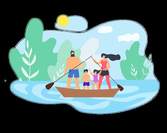 Family enjoying weekend Illustration
