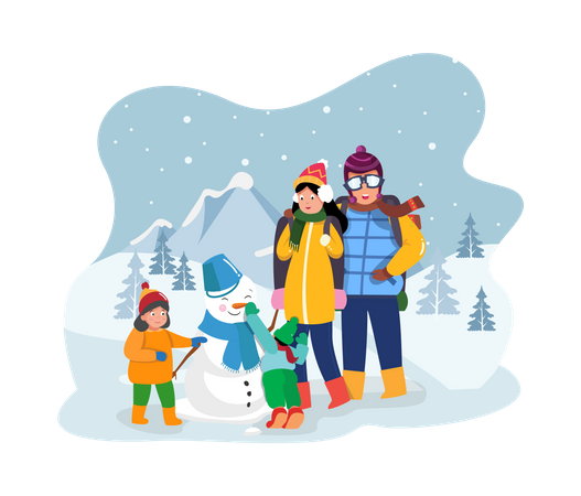 Family enjoying winter at mountains Illustration