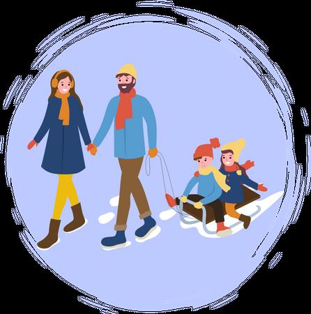 Family enjoying winter trip Illustration