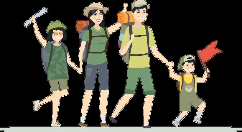 Family goes for hiking Illustration