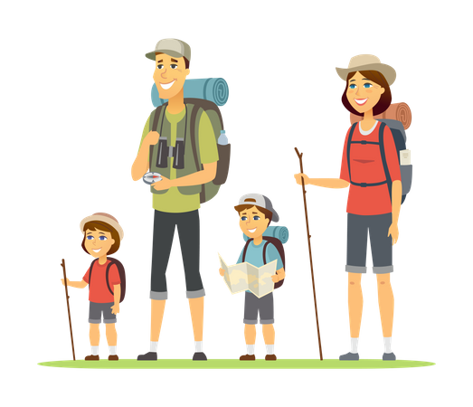 Family going for camping Illustration