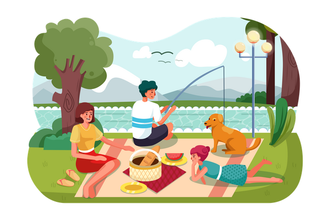 Family going for picnic Illustration