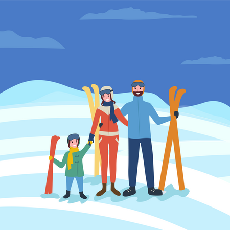 Family going for skiing Illustration