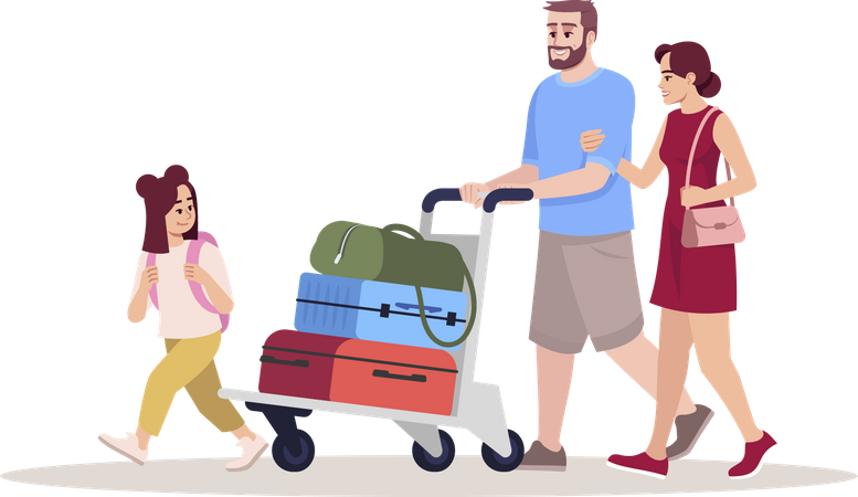 Family going for vacation carrying luggage bags Illustration