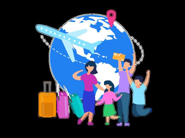Family going on world tour Illustration