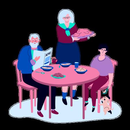Family having dinner Illustration