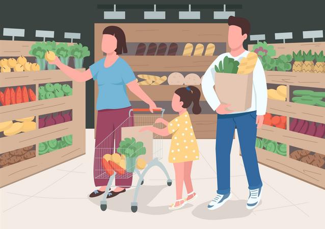 Family in supermarket Illustration