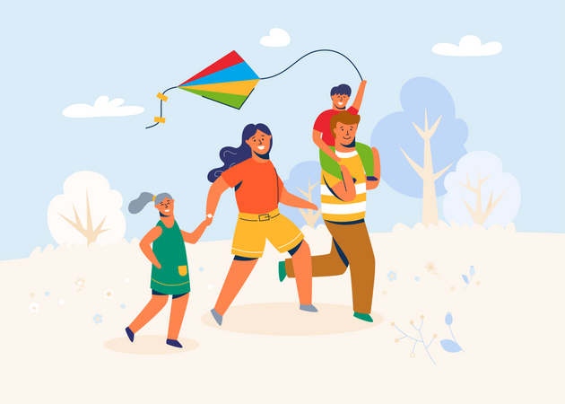 Family in the park launches the Kite Illustration