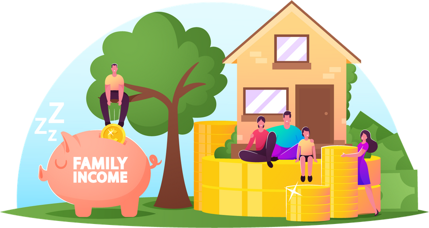 Family Income and Save Money Illustration