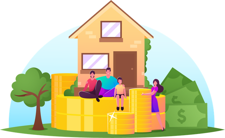 Family Income, Property Insurance, Mortgage Concept. Happy Family Characters front of Cottage with Piles of Huge Coins Illustration