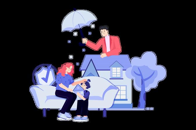 Family insurance plan Illustration
