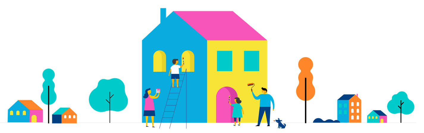 Family is painting home Illustration