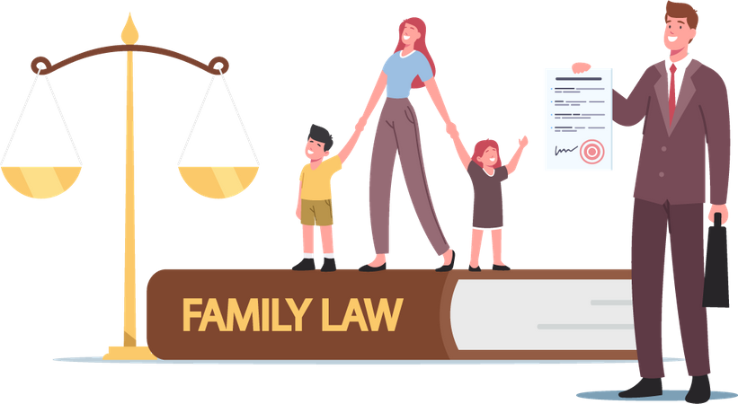 Family Law and Divorce Illustration