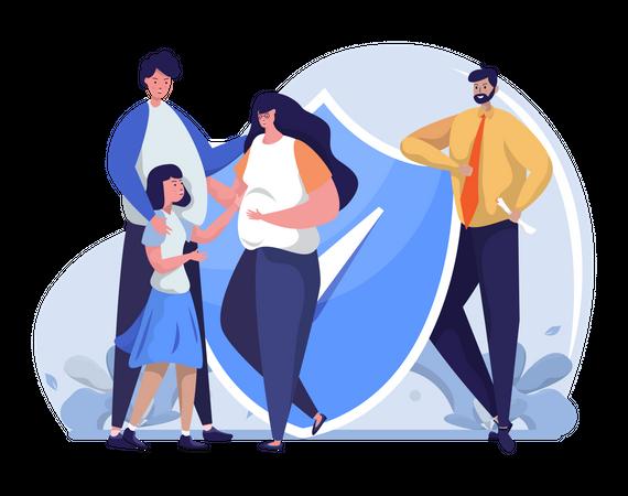 Family life insurance Illustration