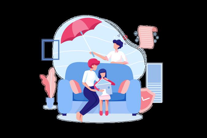 Family Life Insurance concept Illustration