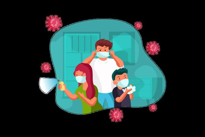Family member sanitizing their home Illustration