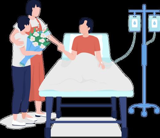 Family members visiting man in hospital Illustration