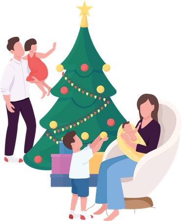 Family near Christmas tree at home Illustration