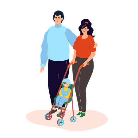 Family on a walk Illustration