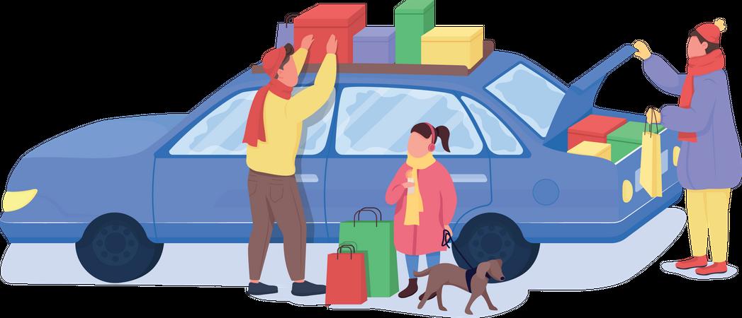 Family on holiday shopping Illustration